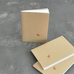 3 mini notebooks with letterpress Bee motif
