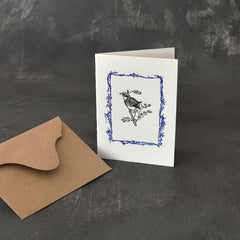 Bee motif folded card hand printed on 100% cotton paper