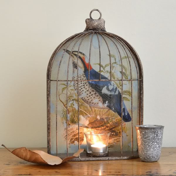 Very unusual wall birdcage with holder for a tea light candle