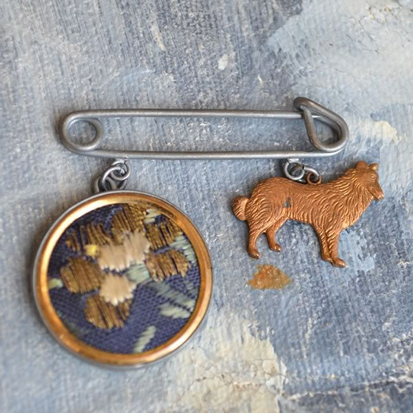 Charm Brooch with Hound and Embroidery