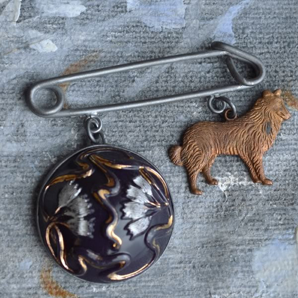 Charm Brooch with Hound and Flower