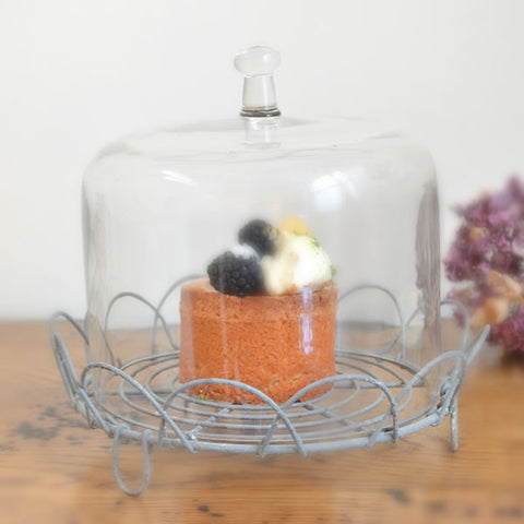 Cake Stand with wire tray and glass dome