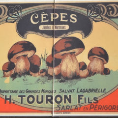 Great wooden box with 'Cèpes' illustration