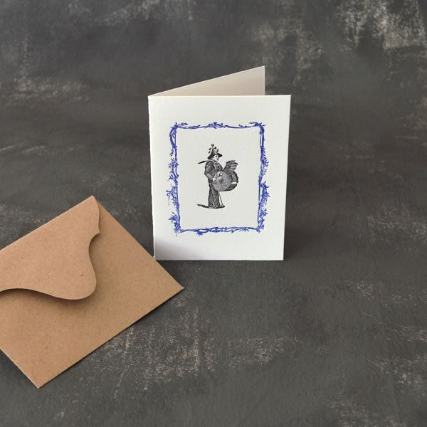 Drummer motif folded card printed on 100% cotton paper.