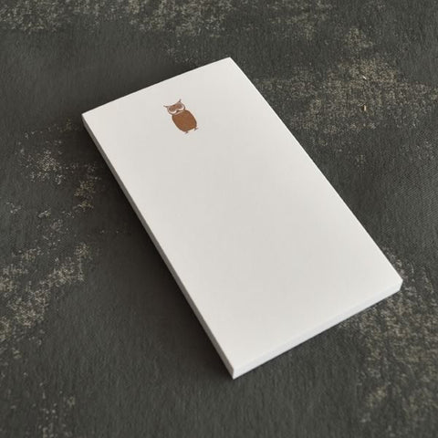 Letterpress Mini Notepad - Owl