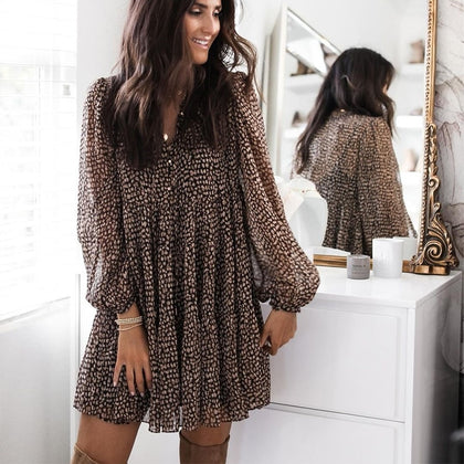 Lantern Sleeve Dot Print Ruffles Women Dress 2021 Casual V-neck Long Sleeve Button Mini Dress Ladies Elegant Party Dress Vestido