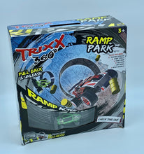 Load image into Gallery viewer, RAMP PARK Single Trixx 360 Pull Back Stunt Car with RAMP, Friction Powered, Can do Power Slide, Wall Ride, 360 Flip, Back to Back. Invent your own Tricks, GREAT GIFT FOR 3 4 5 6 7 8 Year Old Boys Girls