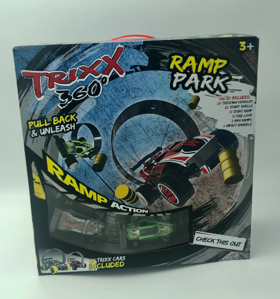 RAMP PARK Double Trixx 360 Pull Back Stunt Car with RAMP, Friction Powered, Can do Power Slide, Wall Ride, 360 Flip, Back to Back. Invent your own Tricks, GREAT GIFT FOR 3 4 5 6 7 8 Year Old Boys Girls