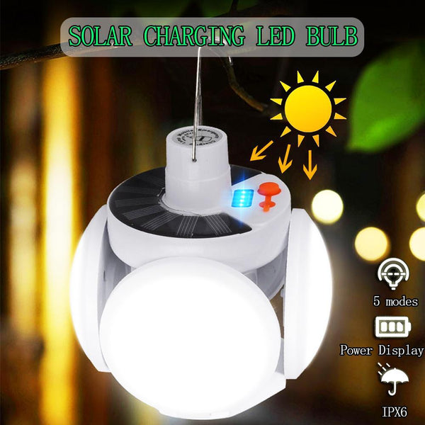 42LED Solar Light Bulb Outdoor Waterproof 90° Fold Solar Emergency Rechargeable Bulb