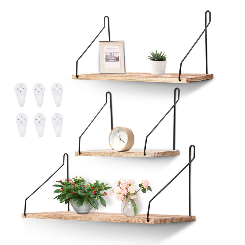 3 PCS Floating Wall Mounted Shelf Metal Wood Storage Shelf for Bedroom, Living Room, Bathroom, Kitchen and Office