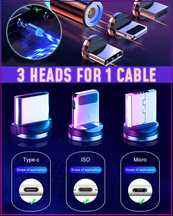 360° LED Magnetic Charging Cable