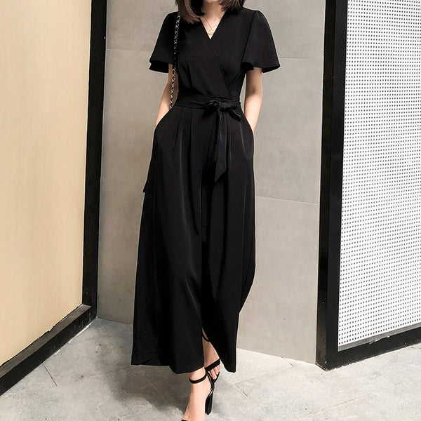 chic Korean style black high-waisted chiffon one-piece wide-leg cropped trousers