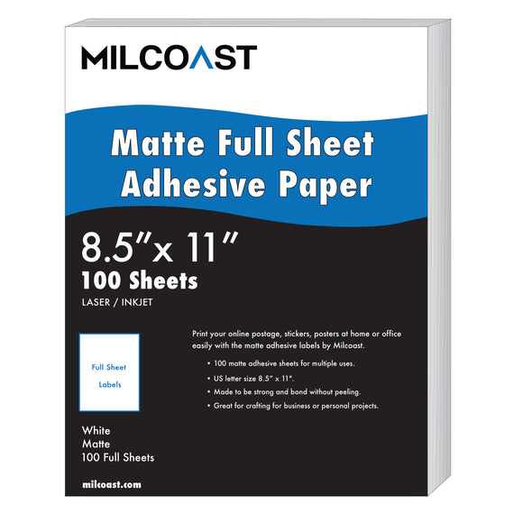 "Milcoast Full Sheet 8.5"" x 11"" Matte Adhesive Sticker Paper Labels"