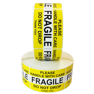 "Milcoast ""FRAGILE - Please Handle With Care"" Label Stickers (2 Rolls, 1000 Stickers Each)"