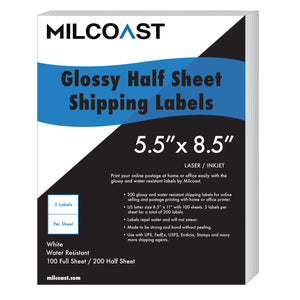 Milcoast Glossy Half Sheet Shipping Labels