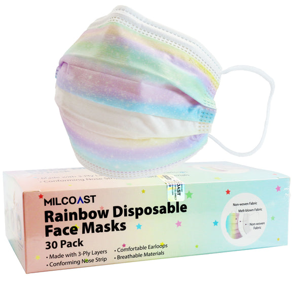 Milcoast 3-Ply Disposable Unicorn Mermaid Rainbow Face Masks for Kids and Adults (30 Pack)