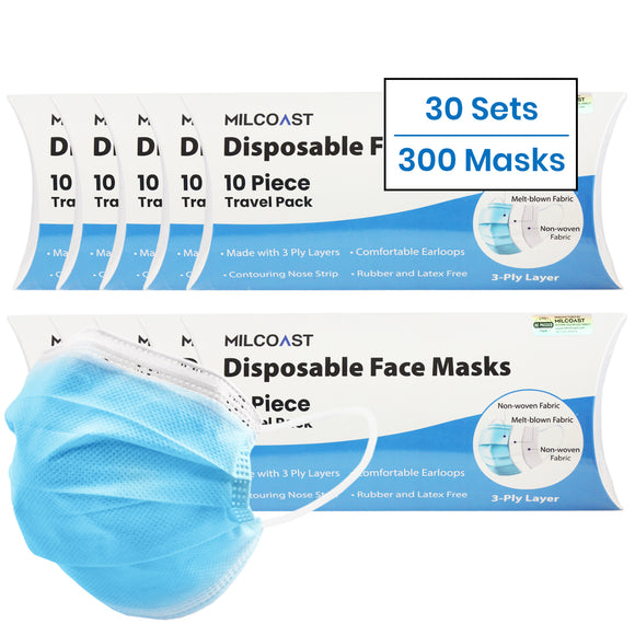 Bulk Travel Packs of 3-Ply Disposable Face Masks for School, Office, Employees - 30 Sets of 10 Pack - 300 Masks Total