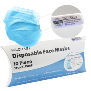 Travel Pack - 3 Ply Layer Disposable Face Masks - Personal Protection and Hygiene