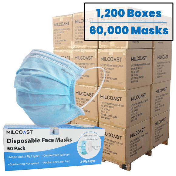 Pallet of 60,000 PCS - 3-Ply Layer Disposable Face Masks (1,200 Boxes of 50 Pack)