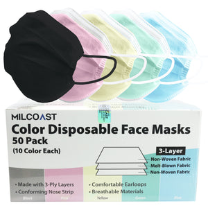 Milcoast Multicolor 3-Ply Disposable Face Masks Variety Color Pack - 50 Masks Total