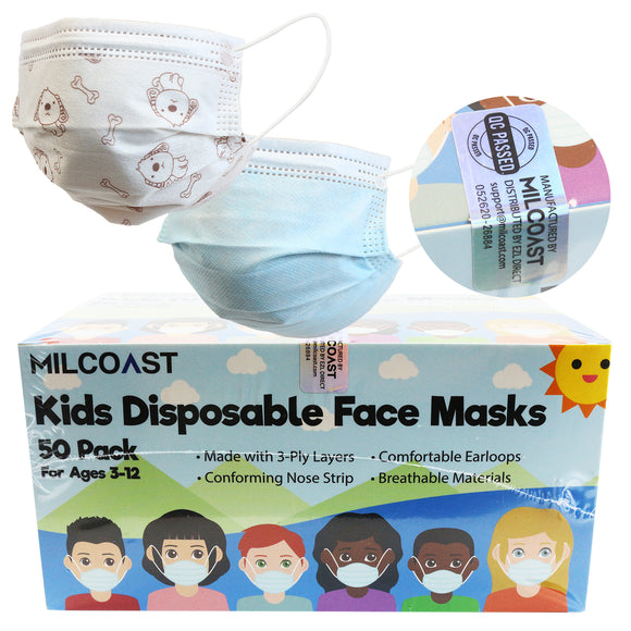 3-Ply Layer Kids Gender Neutral Disposable Soft Earloop Face Masks