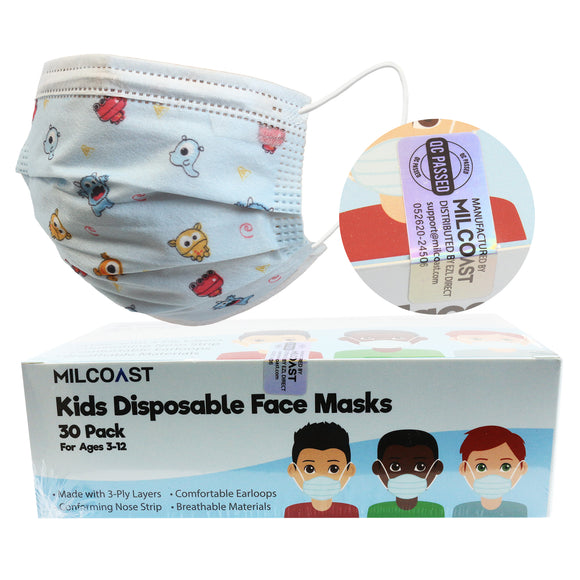 Kids 3-Ply Layer Boys and Girls Disposable Face Masks - 30 Pack