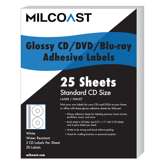MC-GCD-LBL-25 Milcoast Glossy DIY Adhesive CD/DVD/Blu-ray Disc Labels - for Laser/Inkjet Printers - 50 Label Sets (25 Sheets)