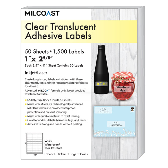 Milcoast Glossy Clear Translucent Waterproof Tear Resistant Address Labels 1