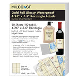 "Milcoast Gold Foil Glossy Waterproof Tear Resistant Adhesive 4.25"" x 5.5"" Rectangular Labels - 80 Labels (20 Sheets)"