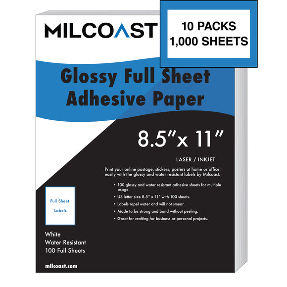 Bulk 10 Pack of Milcoast Glossy Full Sheet Shipping Sticker Labels (1000 Sheets Total)