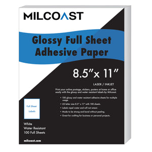 Milcoast Glossy Full Sheet Shipping Sticker Labels