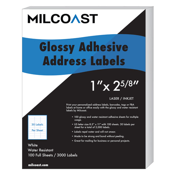 "Milcoast Glossy Address Labels - 1"" x 2-5/8""- 30 Per Sheet (3000 Labels)"