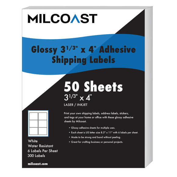 Milcoast Glossy Adhesive Shipping Labels 3-1/3 x 4 - 300 Labels (50 Sheets)