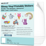 Milcoast Glossy Waterproof Printable Vinyl Full Sheet Sticker Paper Labels