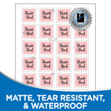 "Milcoast Matte Waterproof White 1-1/2"" x 1-1/2"" Square Shaped Labels - 600 Labels (25 Sheets)"