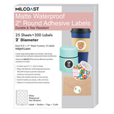 "Milcoast Matte Waterproof Blank 2"" Round Circle Shaped Labels - 300 Labels (25 Sheets)"