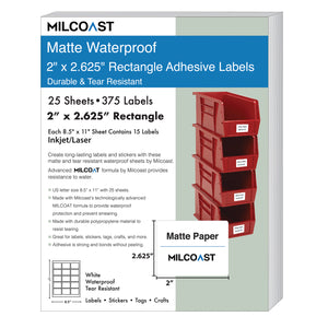 "Milcoast Matte Waterproof Blank 2"" x 2-5/8"" Rectangle Shaped Labels - 375 Labels (25 Sheets)"