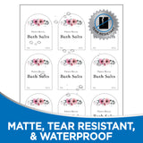 "Milcoast Matte Waterproof White 3"" x 2-1/4"" Arch Shaped Labels - 225 Labels (25 Sheets)"