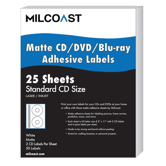 MC-MCD-LBL-25 Milcoast Matte DIY Adhesive CD/DVD/Blu-ray Disc Labels - for Laser/Inkjet Printers - 50 Label Sets (25 Sheets)