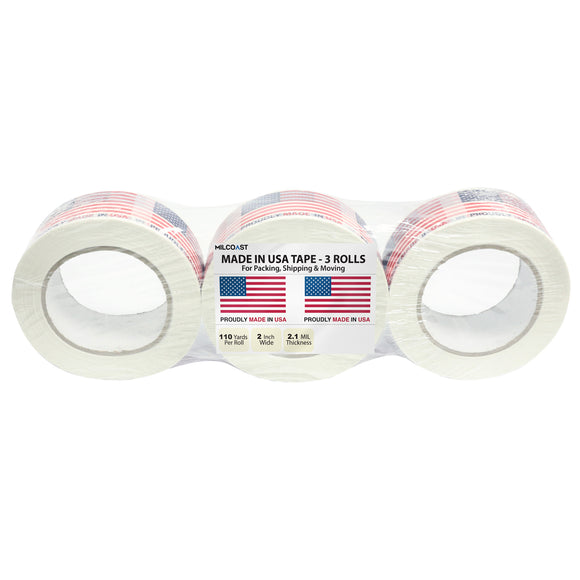 Milcoast Proudly Made in USA Packing and Shipping Tape (3 Rolls, 110 Yards Per Roll)