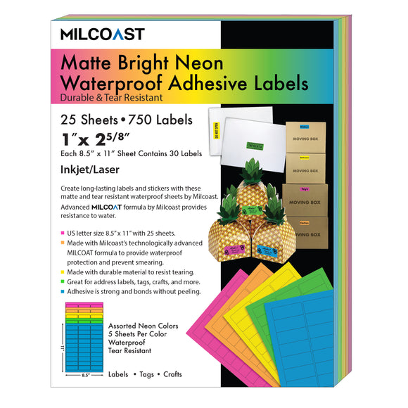 Milcoast Bright Neon Matte Waterproof Tear Resistant Address Labels - 1