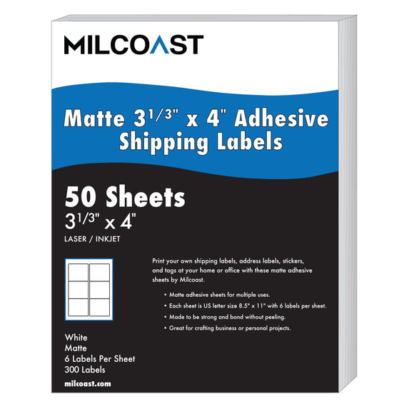 Milcoast Matte Adhesive Shipping Labels 3-1/3 x 4 - 300 Labels (50 Sheets)