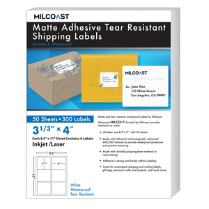"Milcoast Matte Adhesive Tear Resistant Waterproof Shipping Labels - Size 3-1/3 x 4"" Each (50 Sheets)"