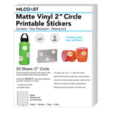 Milcoast Matte Waterproof Printable Vinyl 2″ Round Circle Sticker Paper Labels (20 Sheets)