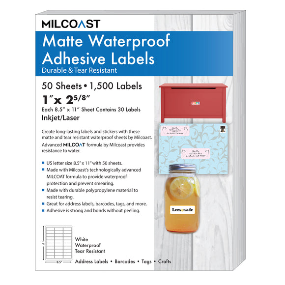 Milcoast Matte Waterproof Address Labels (1500 Labels - 50 Sheets)