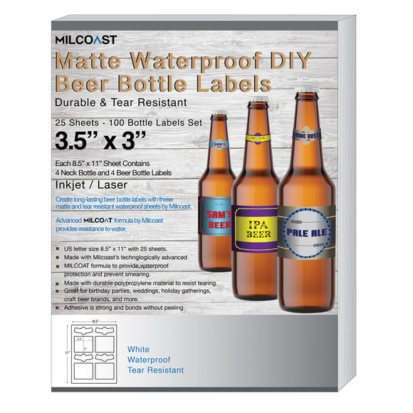 Milcoast Matte Waterproof DIY Beer Bottle Labels - 100 Label Sets (25 Sheets)