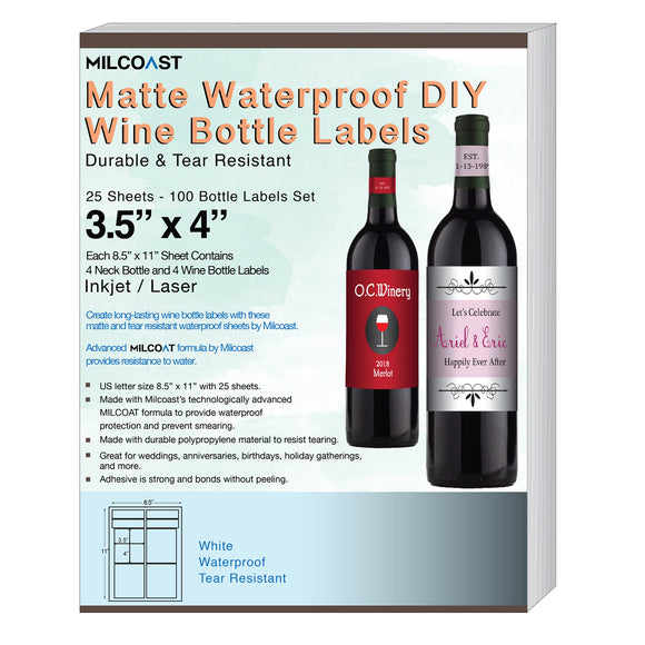 Milcoast Matte Waterproof DIY Wine Bottle Labels - 100 Label Sets (25 Sheets)