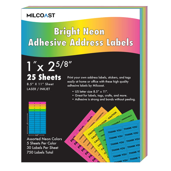 Milcoast Bright Neon Address Labels - 1