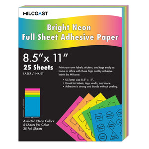 Milcoast Bright Neon Full Sheet 8.5 x 11 inch Adhesive Labels - 5 Color Pack (25 Sheets)