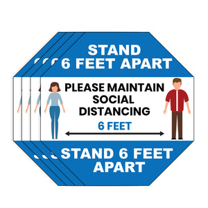 "Milcoast ""Social Distancing, Stand 6 Feet Apart"" Static Cling Window Stickers - 4 Pack"